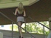 Sexy Girl Videos 1 :: Sexy Allison prances around campus in a little skirt
