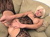 Horny Tricia Oaks fucks herself with pyrex dildo