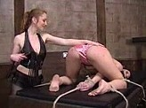 Lesbian Videos 243 :: Lesbian S&M with strap on and electric play