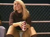 Voyeur Video 86 :: Nice upskirt shot of blonde sitting in the bleachers