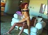 Free Sex Videos 57 :: Redhead fucked on couch while  her mom is in the kitchen