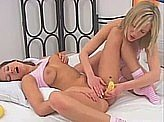 Lesbian Videos 251 :: Teens have fun with bananas and dildos