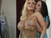 Hot Lesbian Video 216 :: Two gorgeous lesbians play with each others breasts